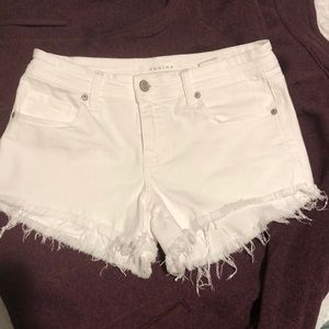 White distressed jean shorts size small